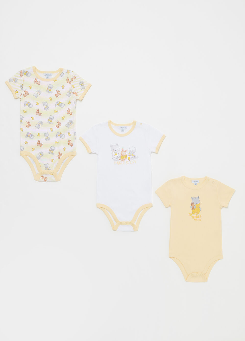 Three-pack patterned and printed bodysuits in cotton