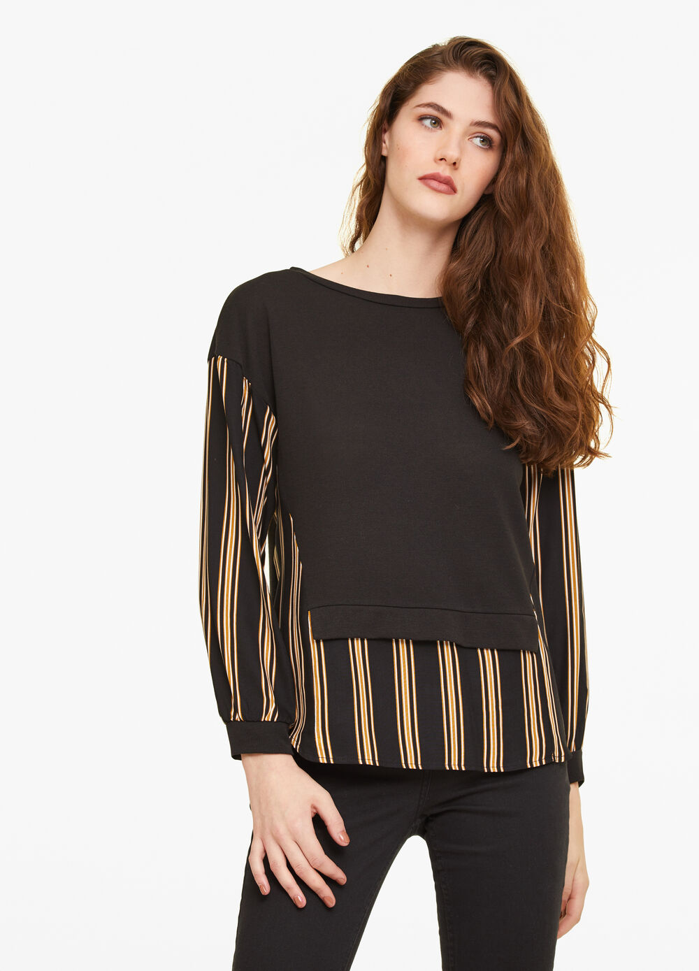 Striped T-shirt with faux layer