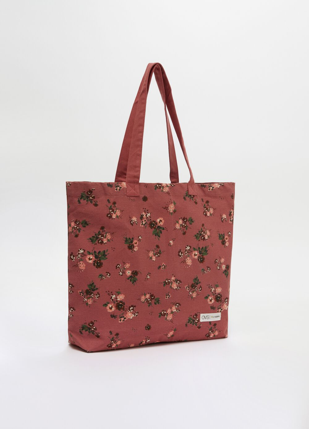 100% organic cotton floral shopping bag