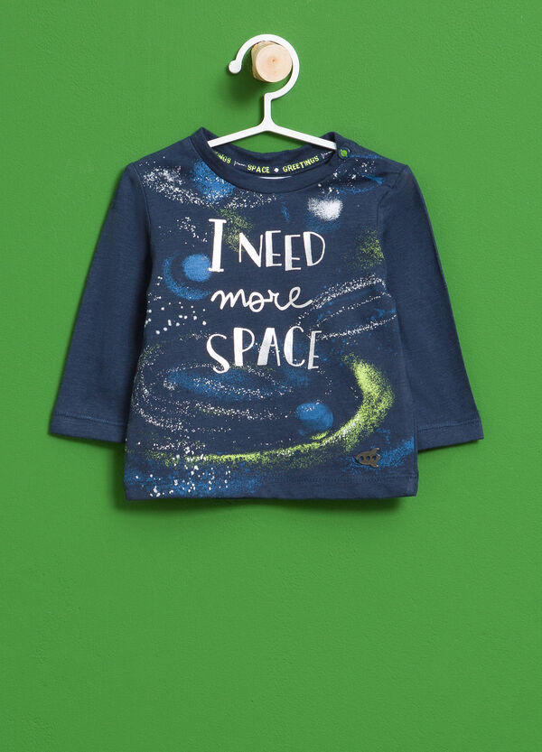 100% cotton T-shirt with maxi space print | OVS