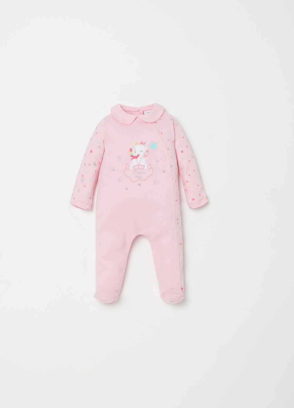 Onesie with feet, stars and applications
