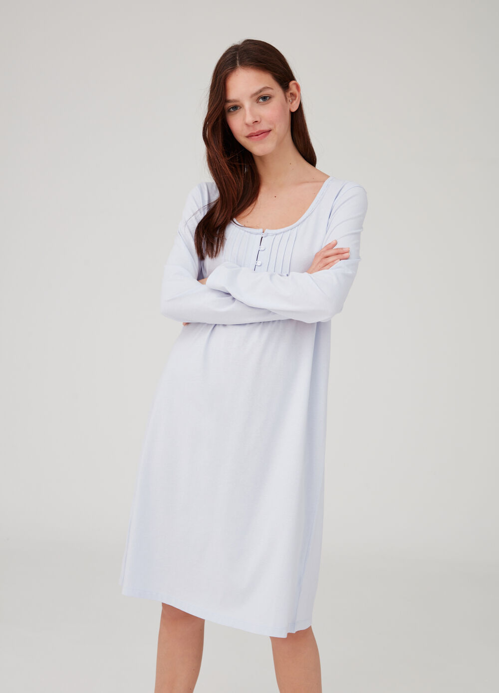 Granddad neck nightshirt with lace trim