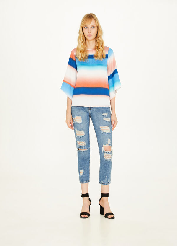 Degradé striped blouse with opening