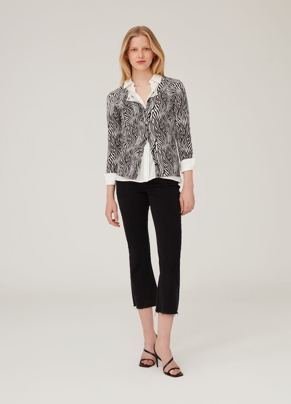 Cardigan with animal pattern and buttons