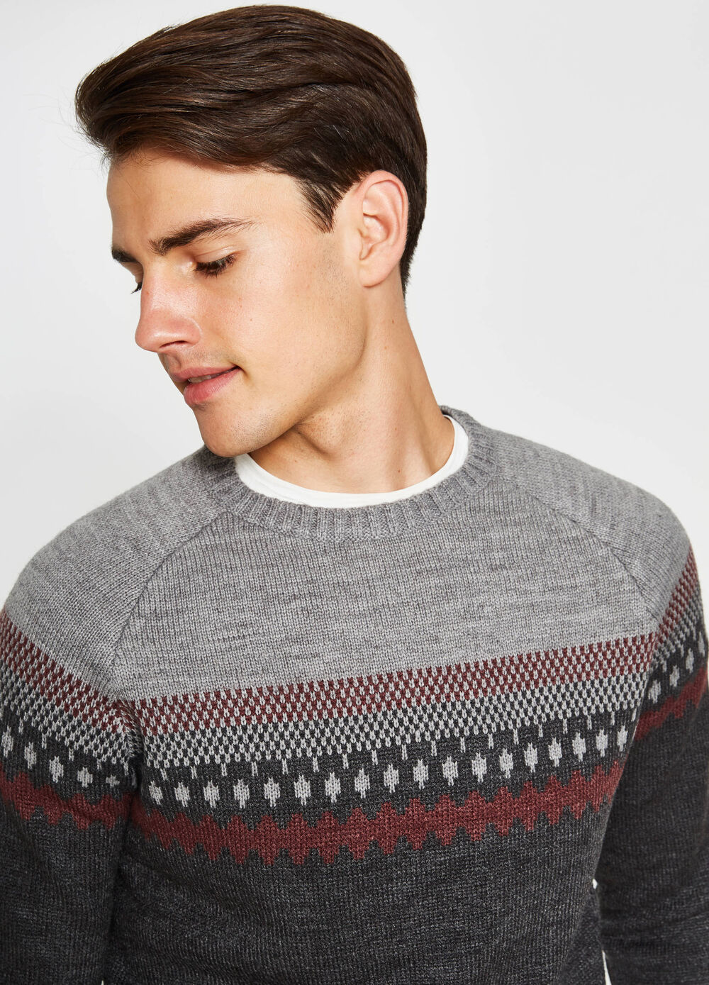 Embroidered two-tone pullover