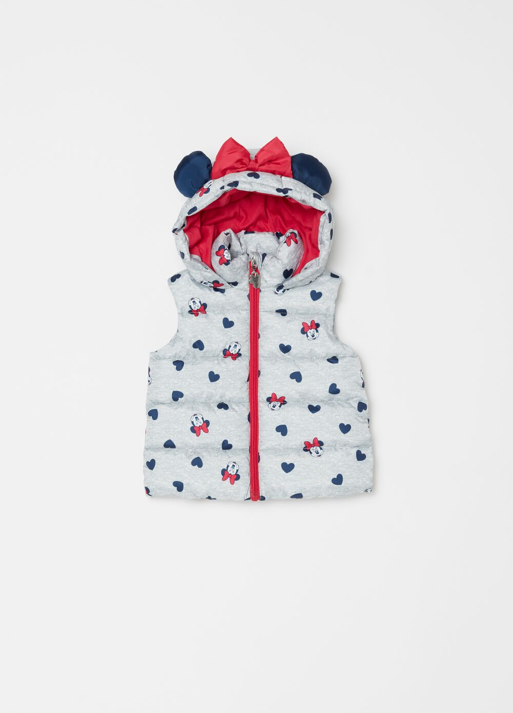 Quilted gilet with hood and Minnie Mouse pattern