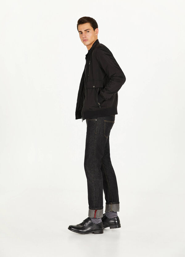Jacket with pockets and round neck