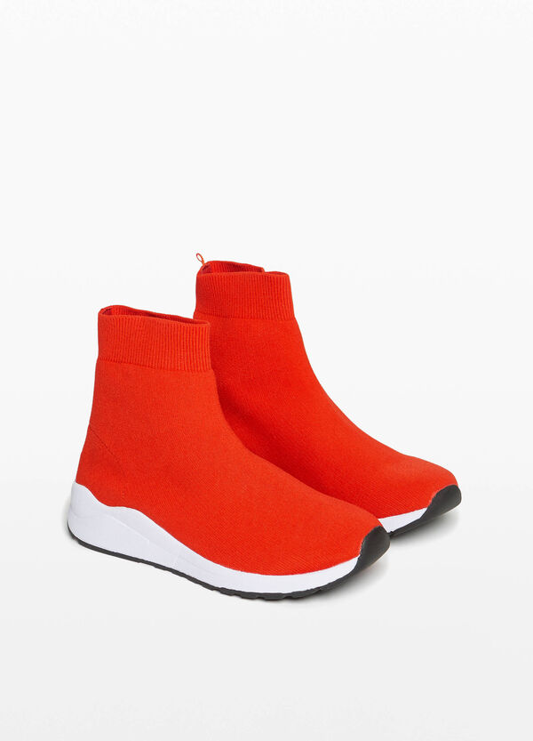 High-top sneakers with sock effect
