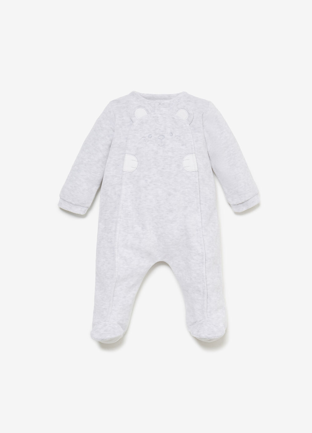 Mélange romper suit with animal embroidery