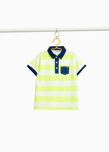 Striped 100% cotton polo shirt with pocket