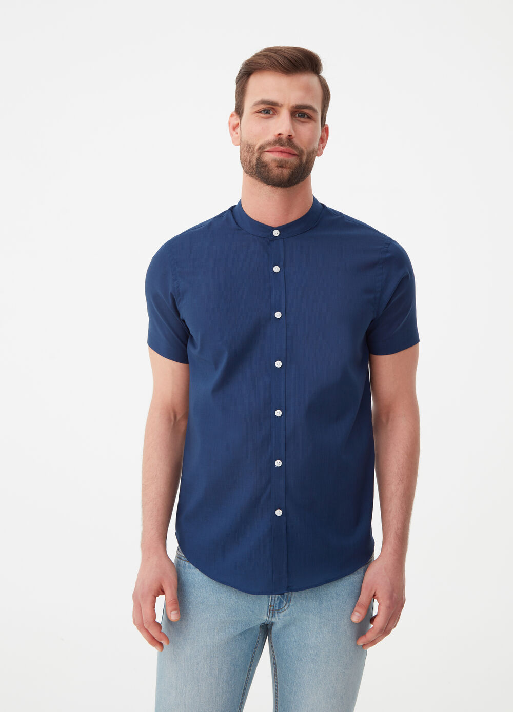 Solid colour regular-fit easy-iron shirt
