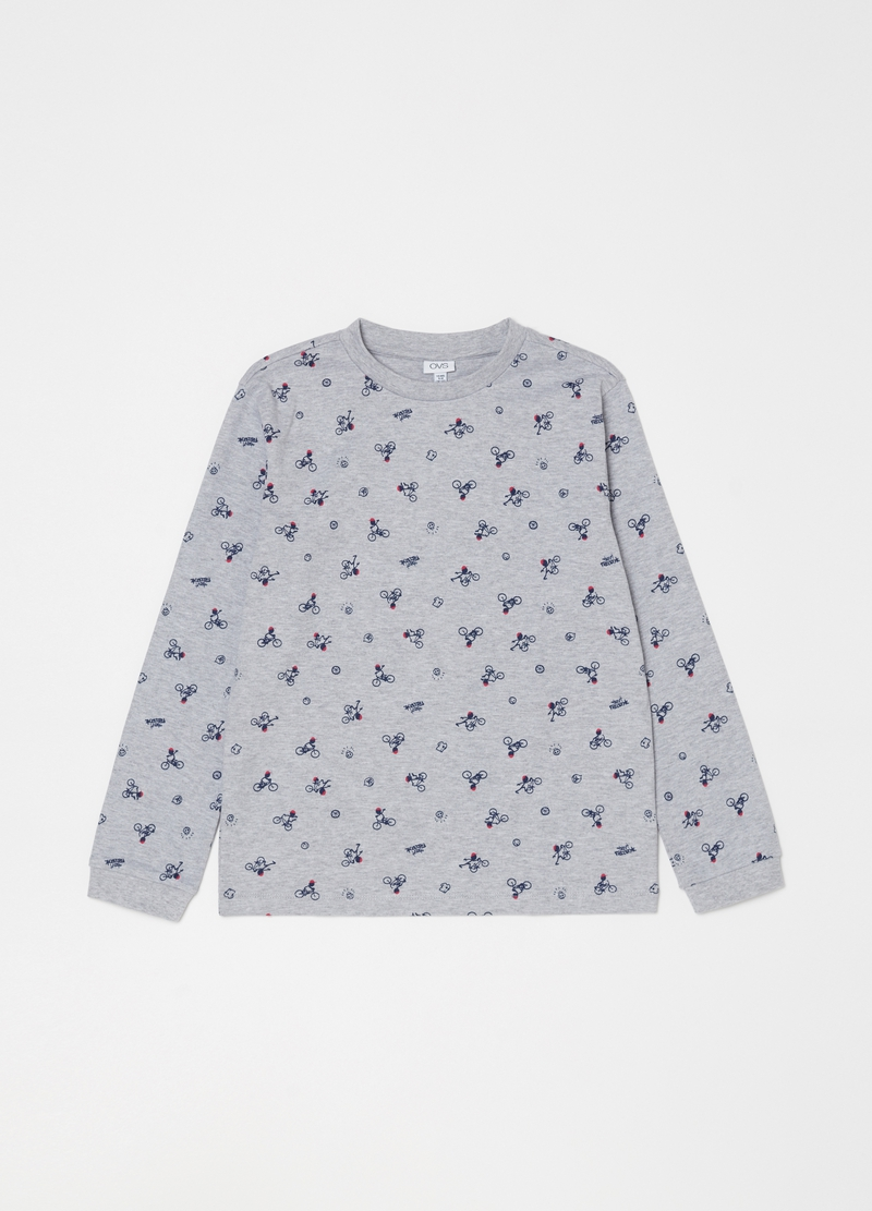 Patterned pyjamas with top and trousers image number null
