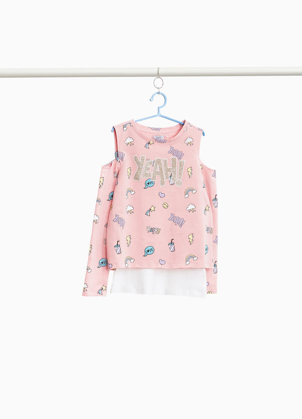 Cotton faux layered sweatshirt with print