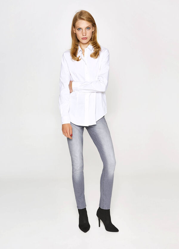 Washed-effect, slim-fit stretch jeans | OVS