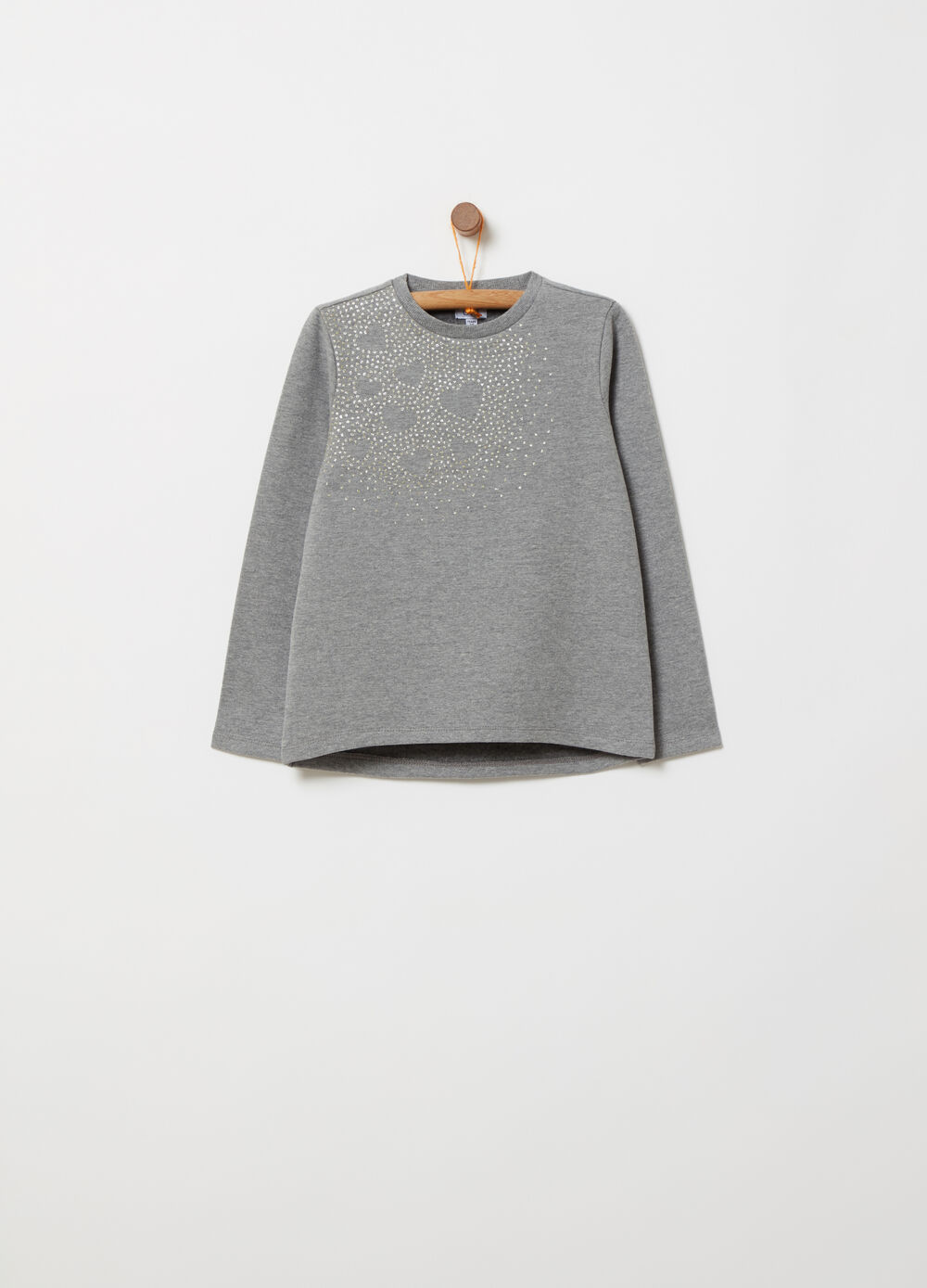 Stretch brushed fleece sweatshirt with glitter print