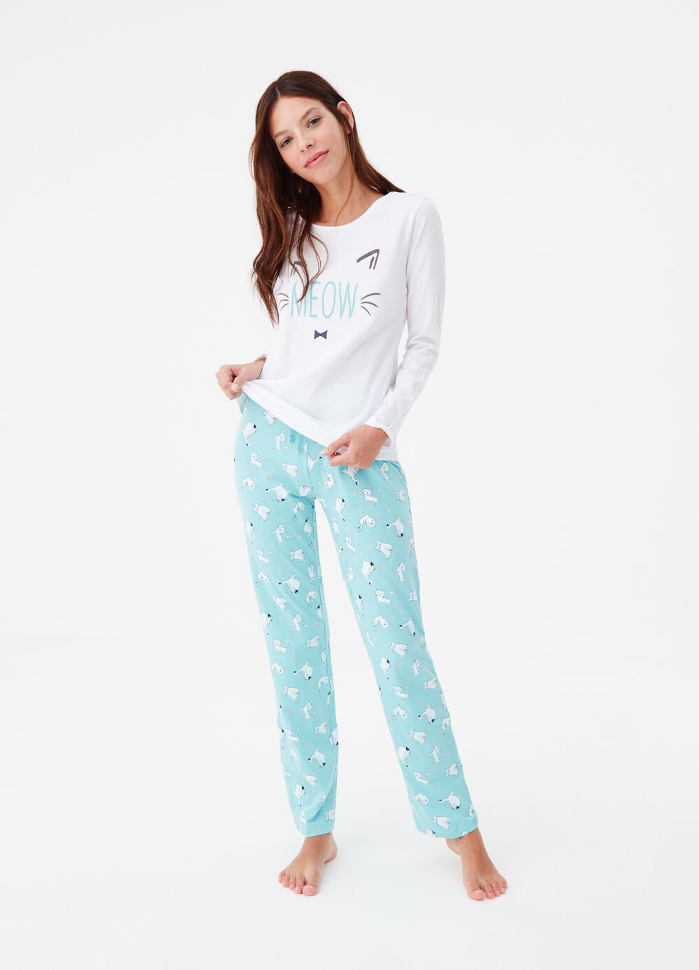 100% cotton pyjamas with kittens pattern