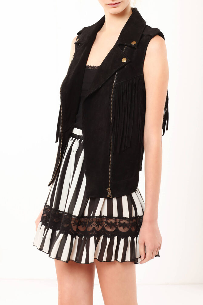 Leather vest with fringes