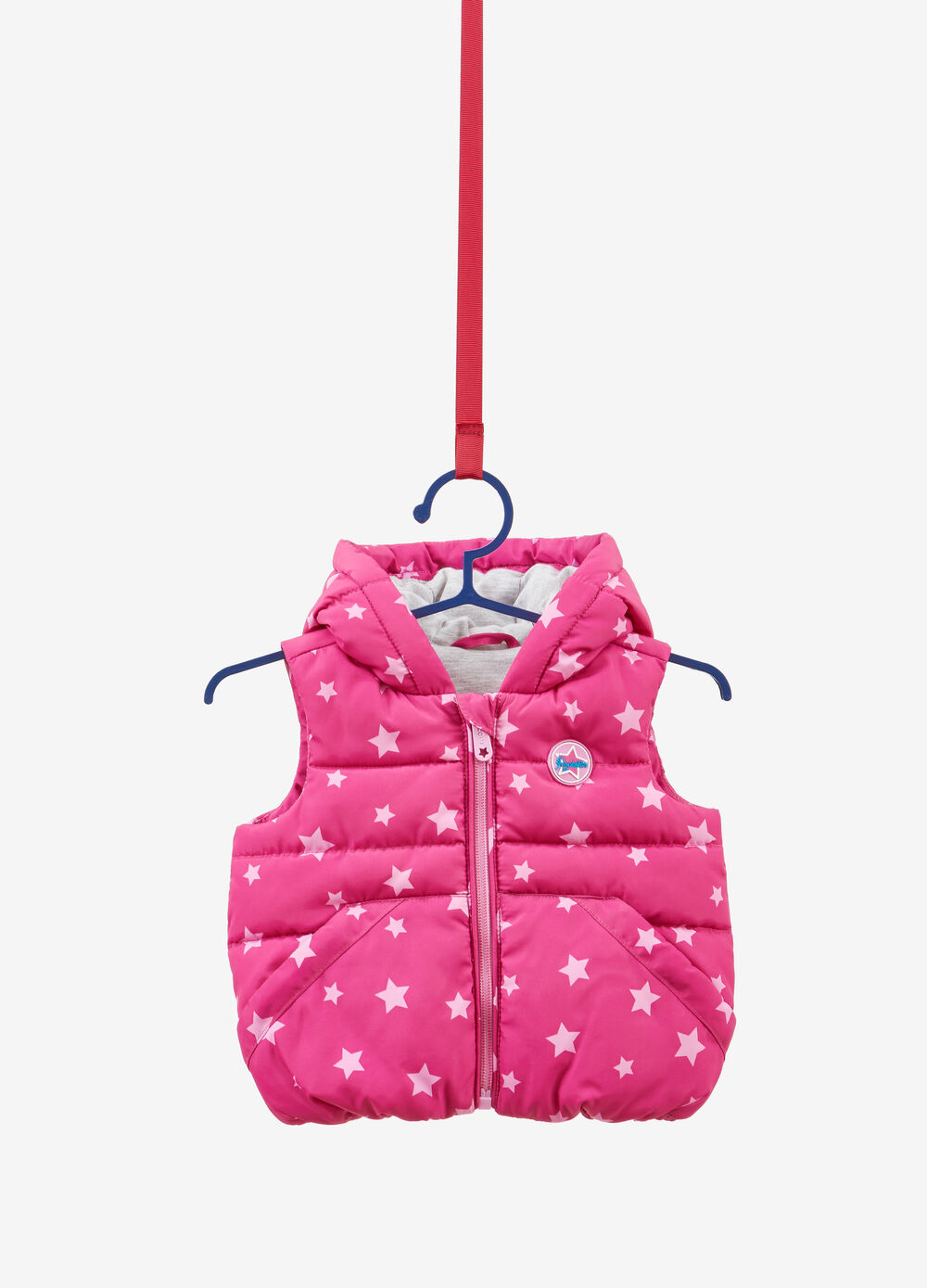 Padded gilet with patch and stars pattern