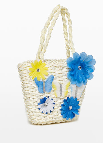 Woven shoulder bag with flowers