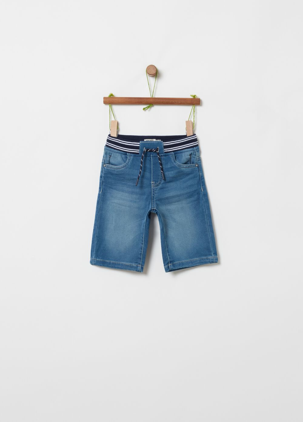 Organic cotton denim shorts with drawstring