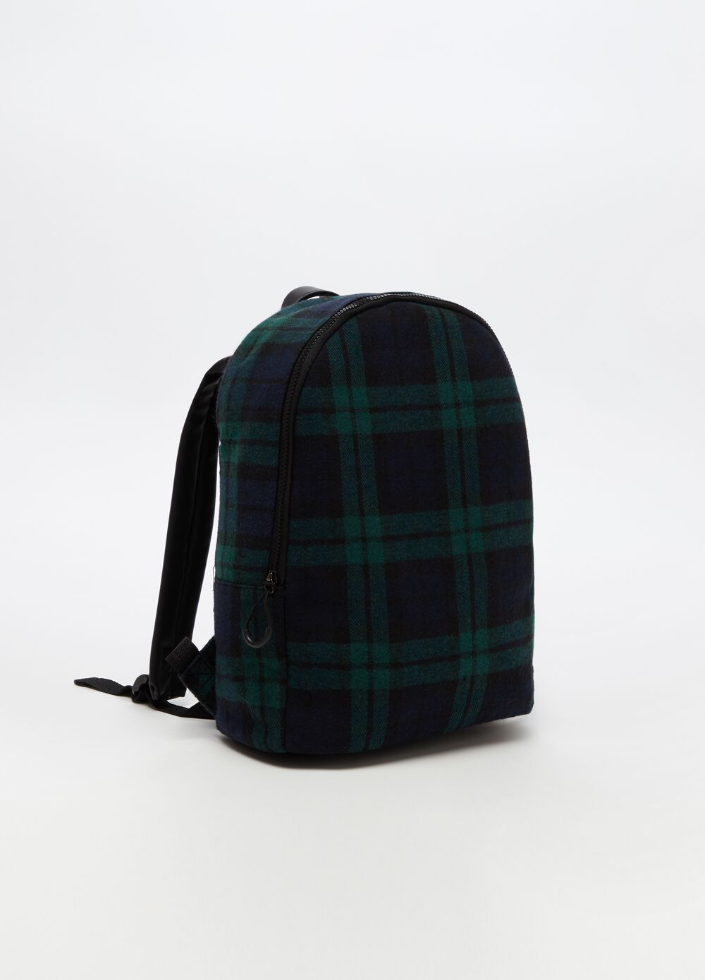 Backpack with zip and check pattern