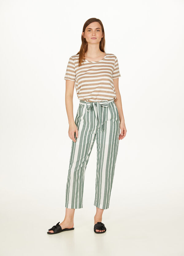 Striped T-shirt in linen and cotton