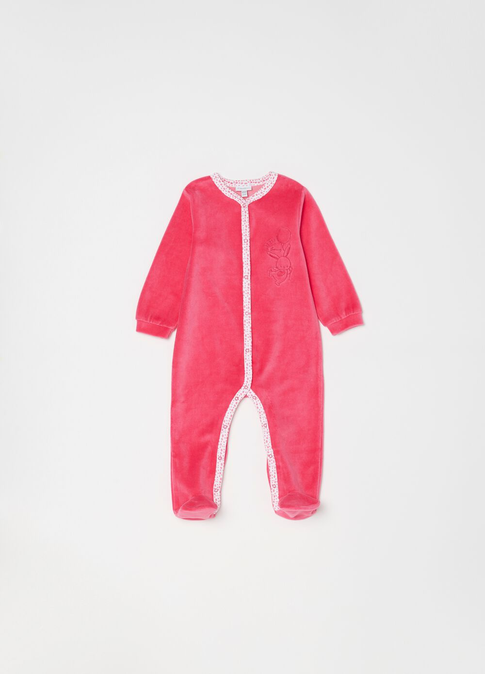 Onesie with feet, V-neck and embroidery