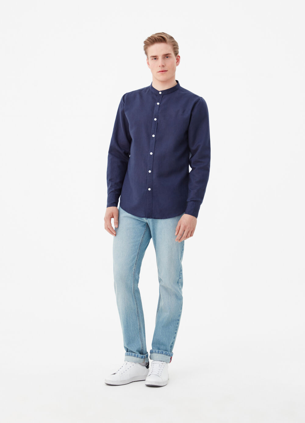 Solid colour linen and cotton shirt with mandarin collar