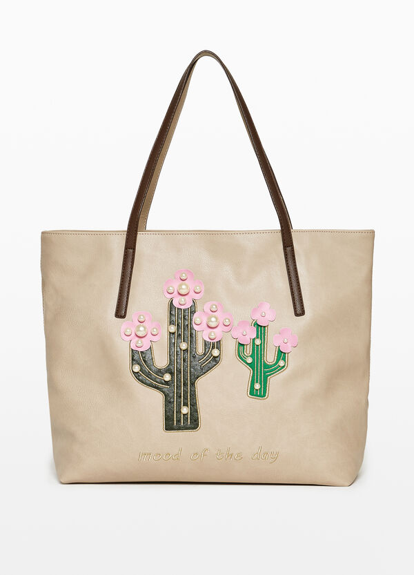 Shopping bag with patch and beads