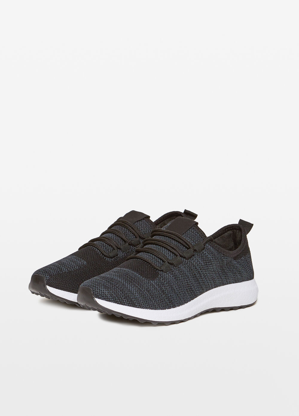 Sneakers with two-tone braided upper