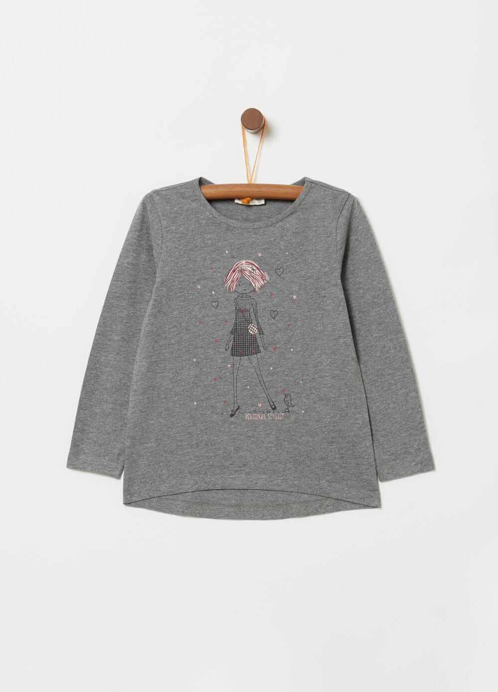 T-shirt with glitter print and long sleeves