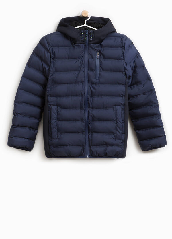 Down jacket with bands and hood | OVS