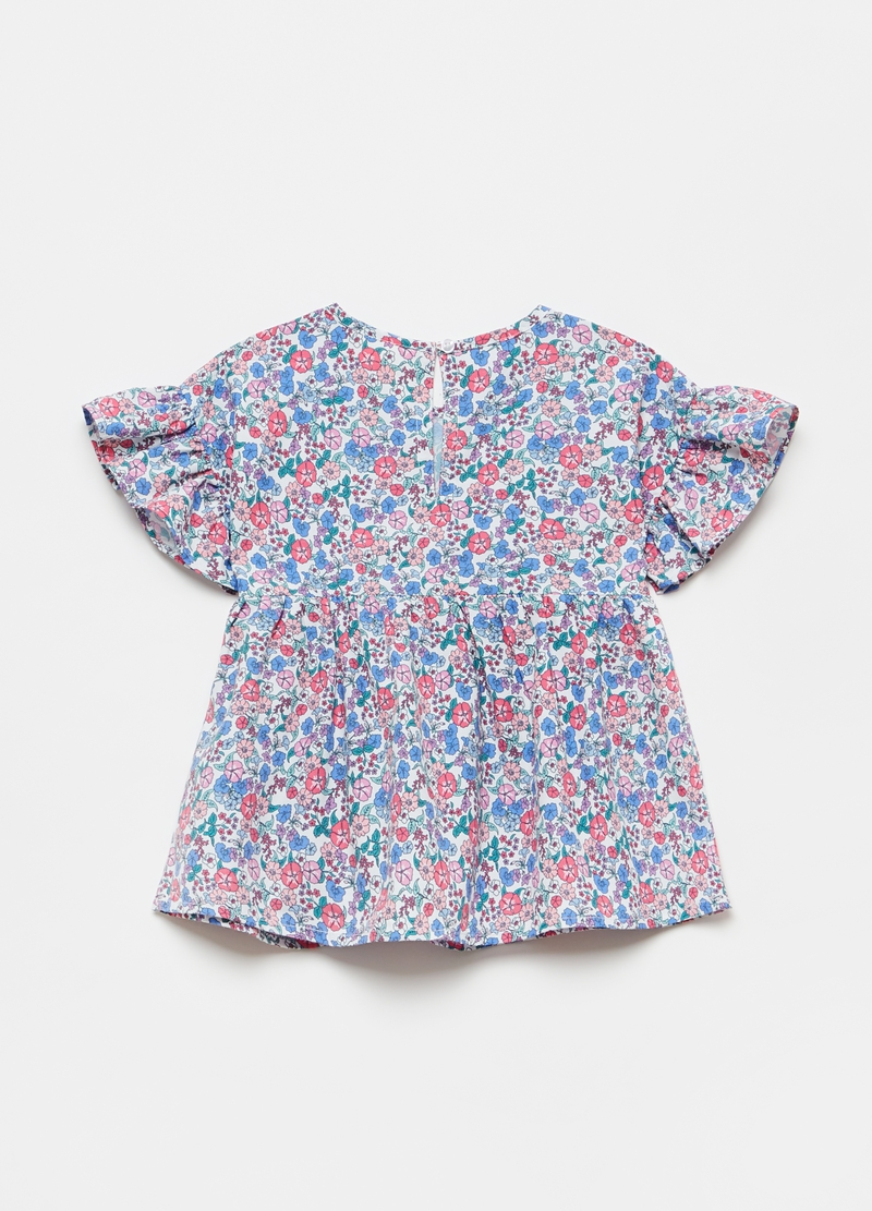 Blouse with all-over print and flounces image number null