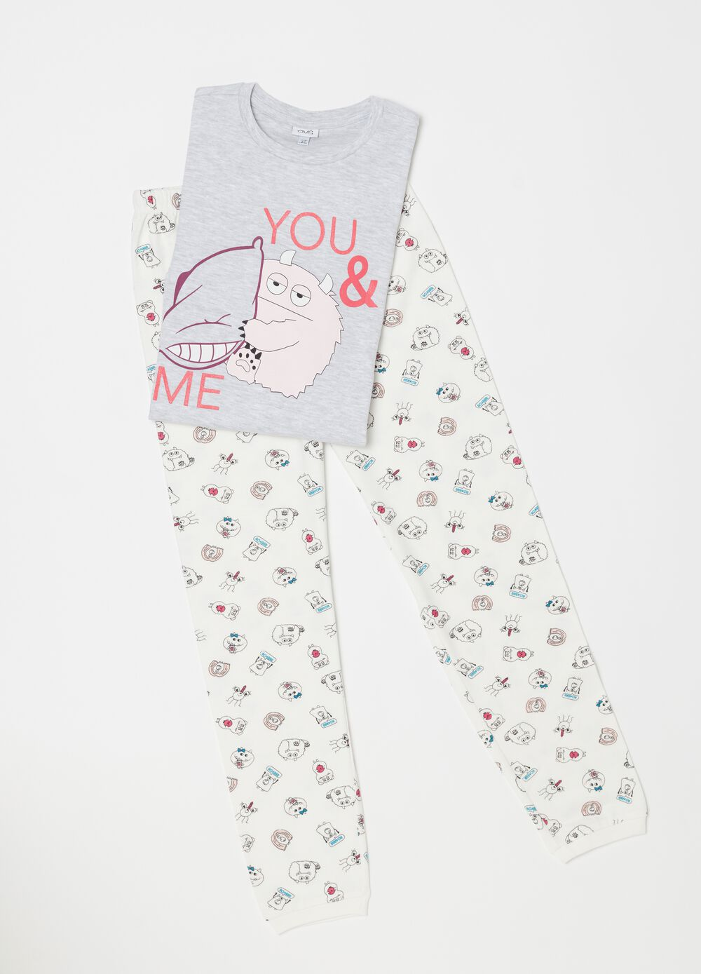 Long organic cotton pyjamas with monsters pattern