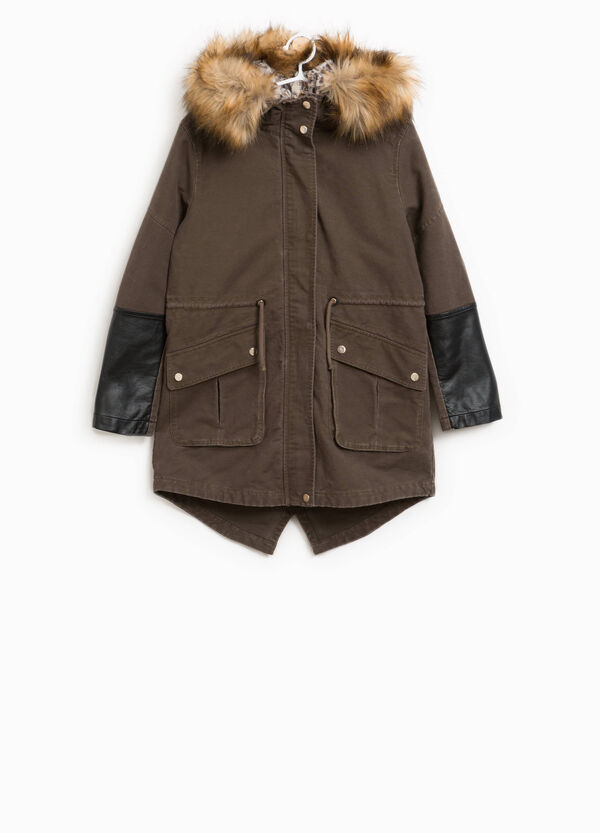 100% cotton parka with faux fur