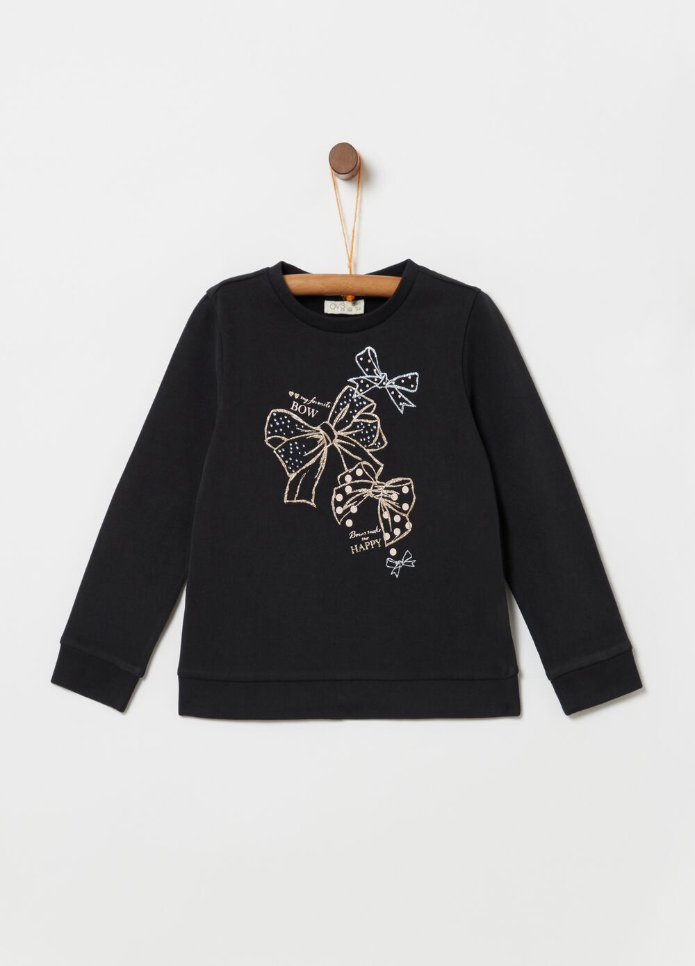 Sweatshirt with glitter bow print
