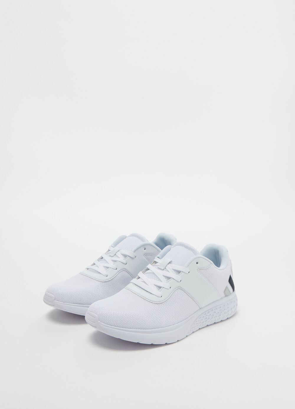 Canvas sneakers with faux leather details