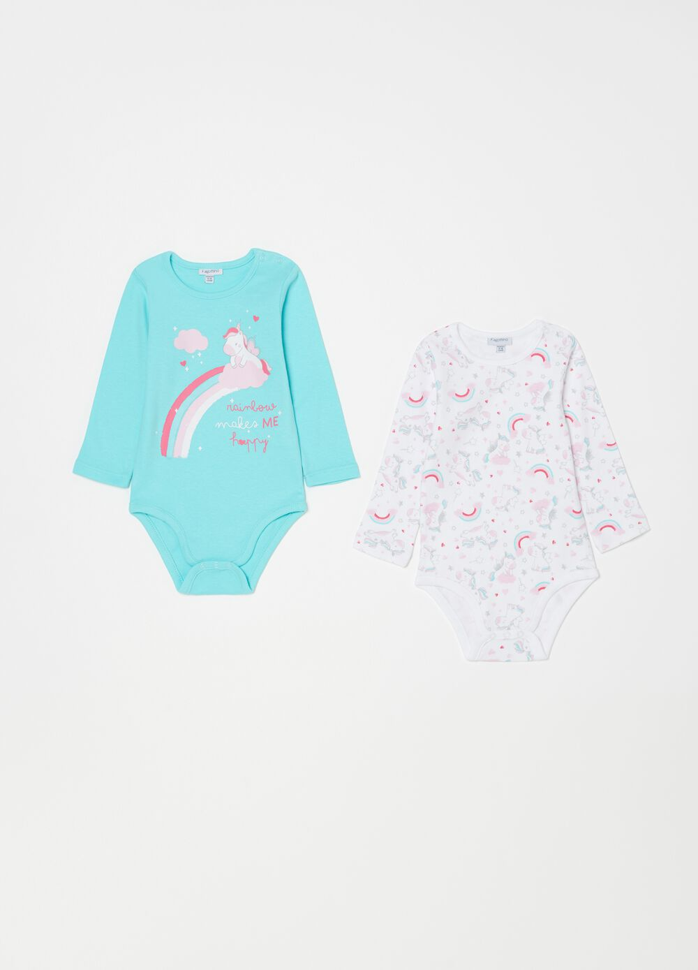 Two-pack 100% organic cotton bodysuits with unicorns