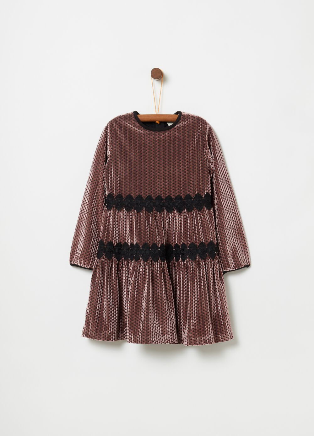 Velvet-effect dress with long sleeves