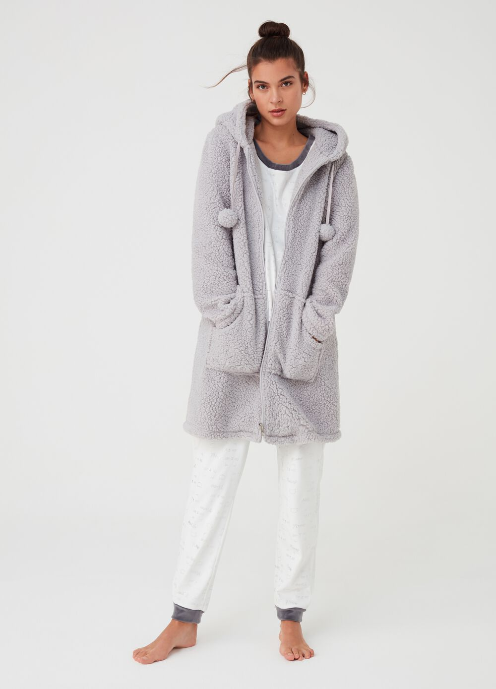 Sherpa-effect dressing gown with hood
