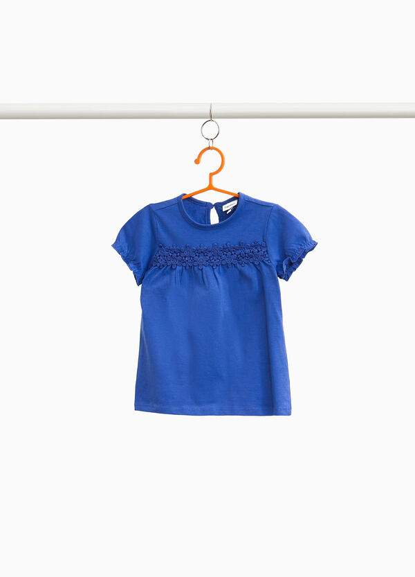 100% cotton T-shirt with lace