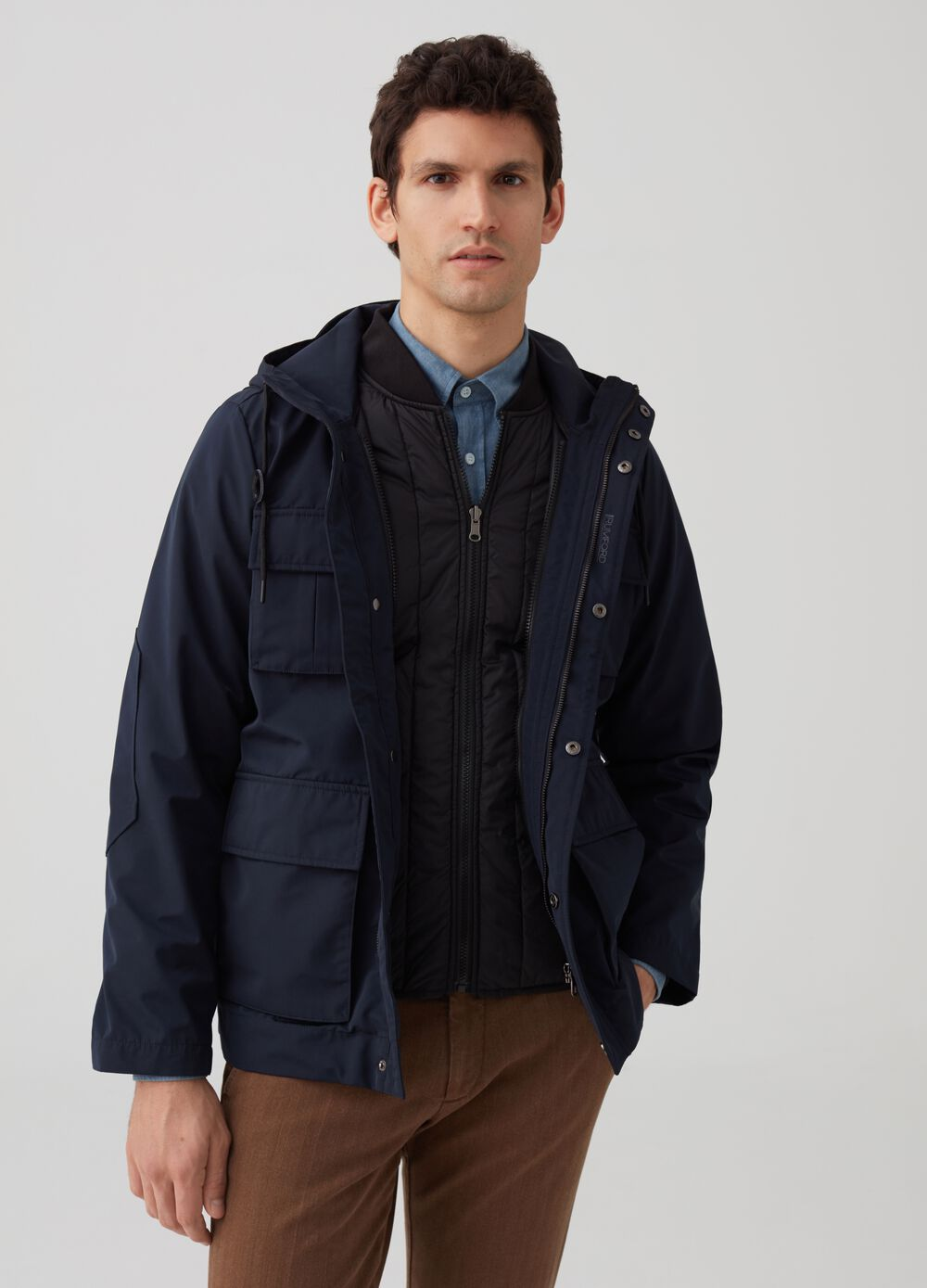 Rumford jacket with hood and pockets