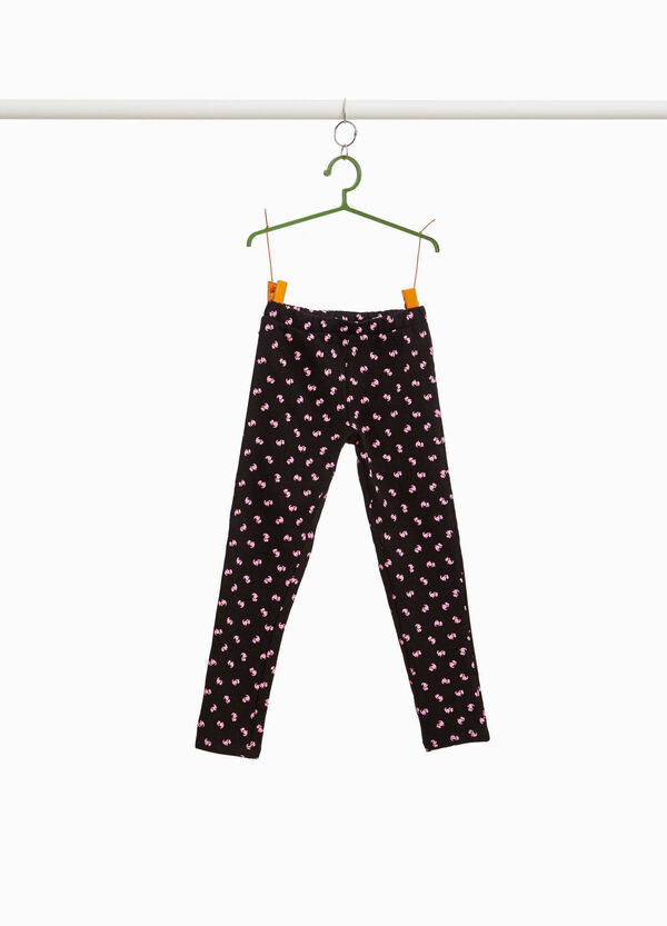 Stretch trousers with puppies pattern