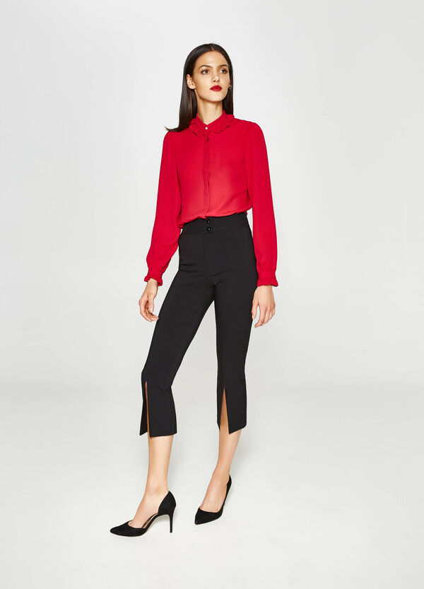 Stretch cropped trousers with slits | OVS
