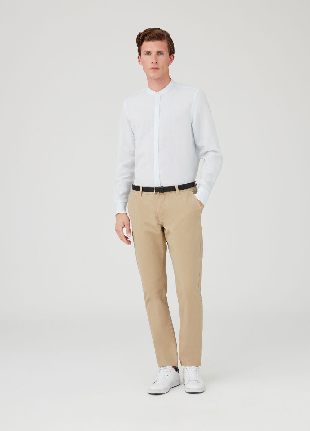 Linen and cotton shirt with mandarin collar