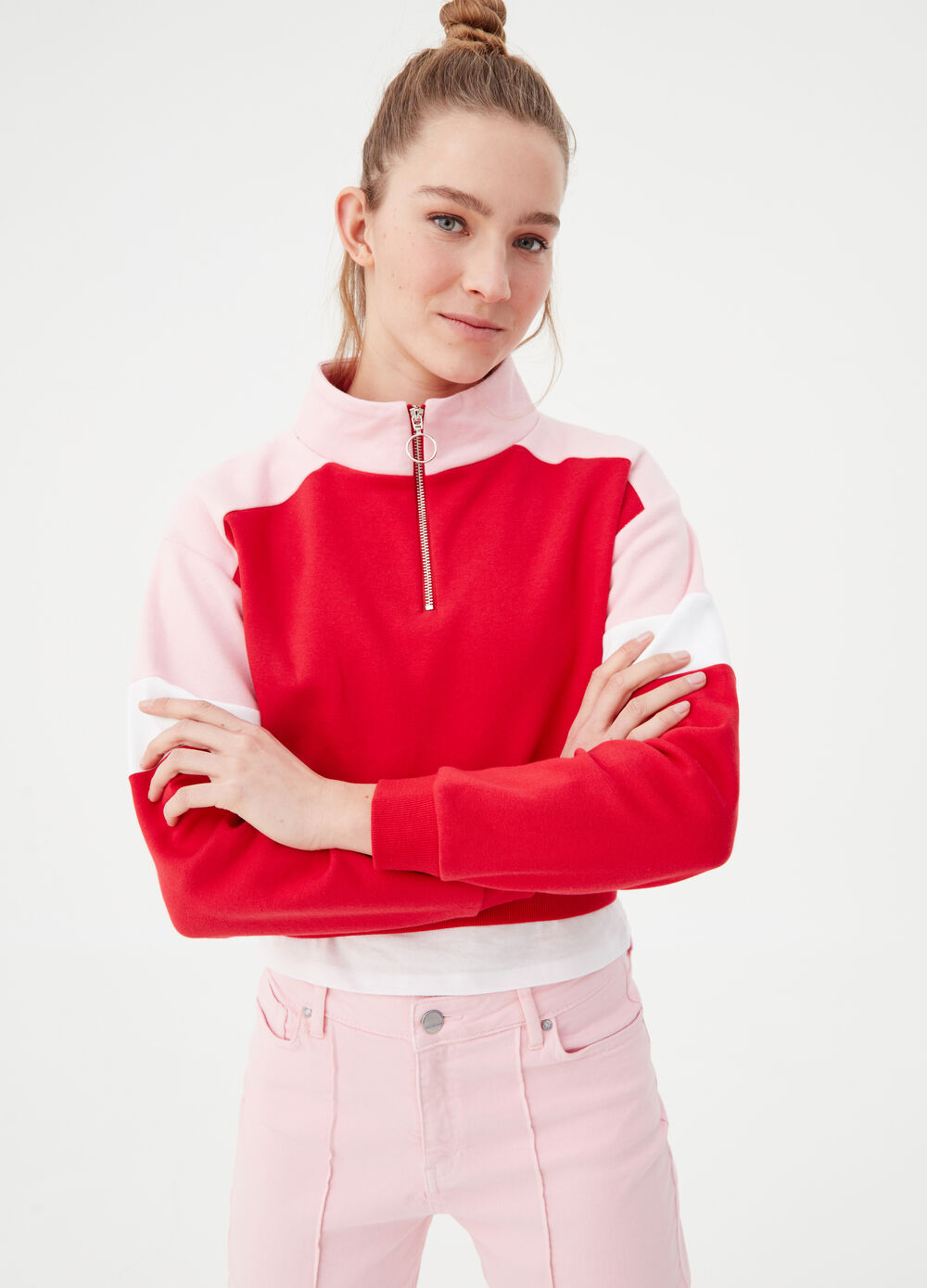 Colour-block BCI sweatshirt with high neck