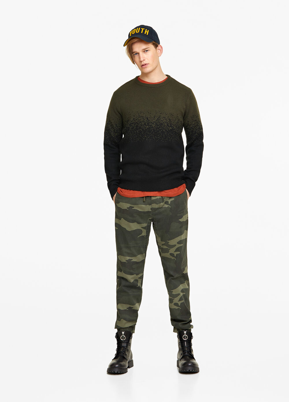 Knitted two-tone degradé pullover