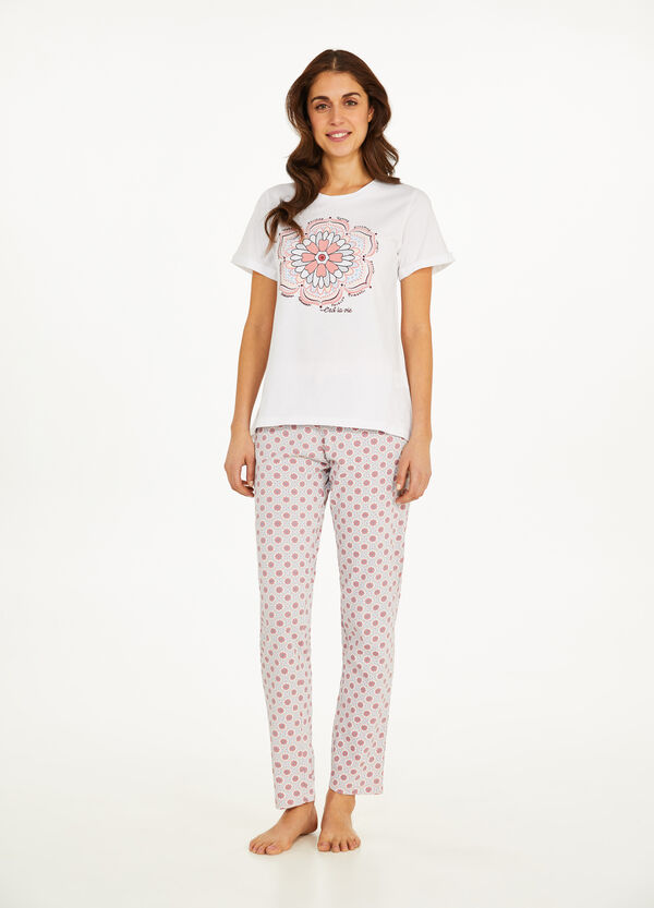 Floral pattern pyjamas in 100% cotton
