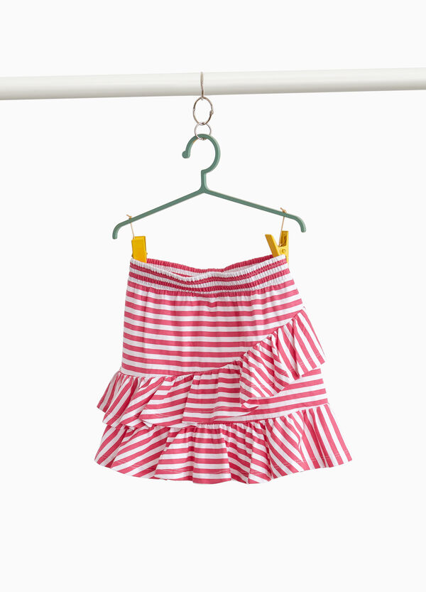 Cotton skirt with striped flounce