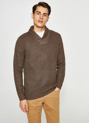 Knitted pullover with folded neckline